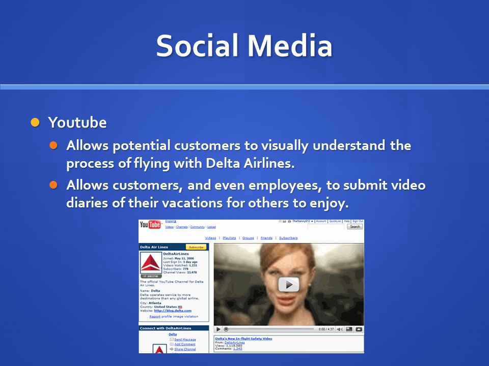Social Media Youtube. Allows potential customers to visually understand the process of flying with Delta Airlines.