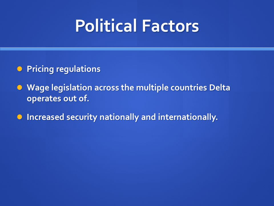 Political Factors Pricing regulations