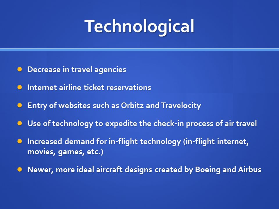 Technological Decrease in travel agencies