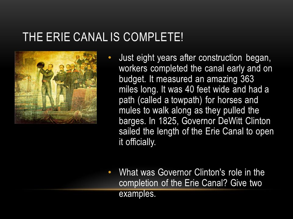 The Erie Canal is Complete!