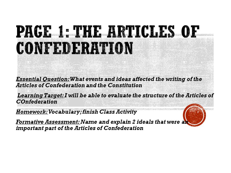 Page 1: The Articles of Confederation
