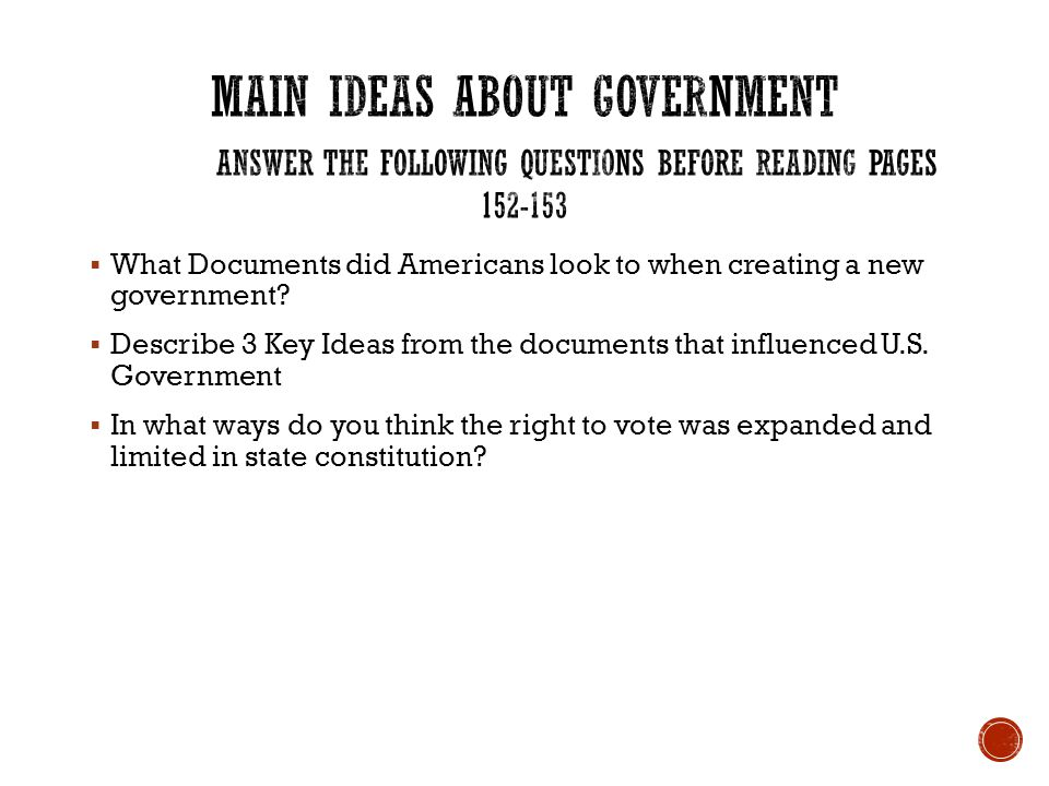 Main Ideas about Government