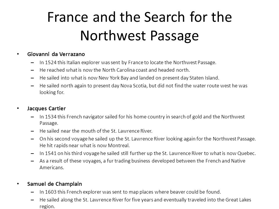 France and the Search for the Northwest Passage