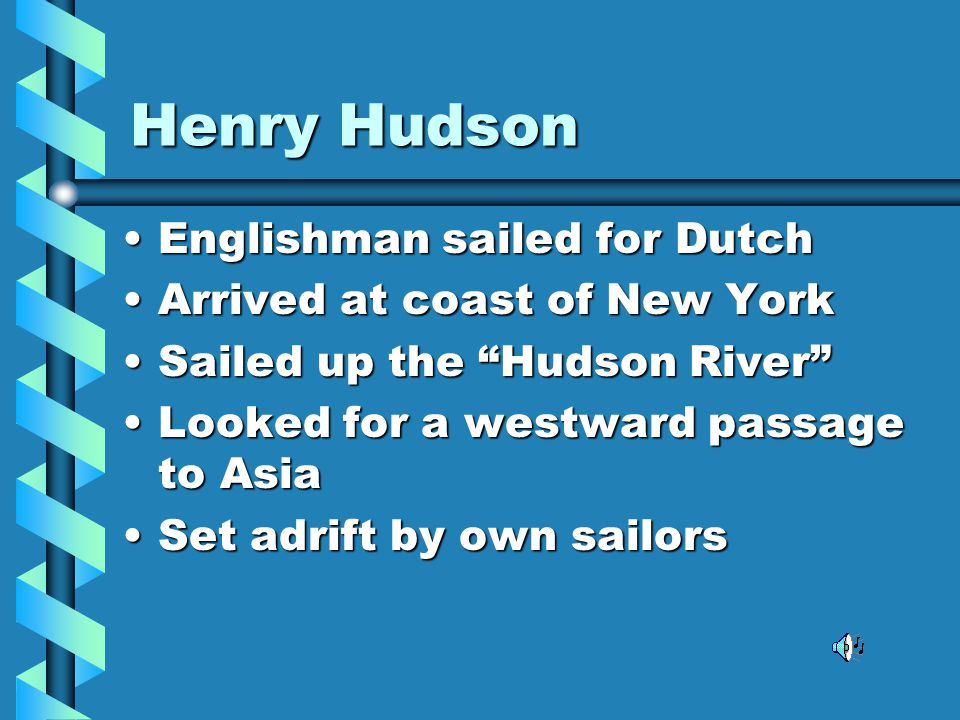 Henry Hudson Englishman sailed for Dutch Arrived at coast of New York
