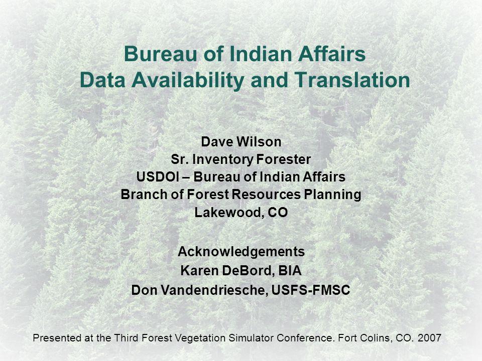 Bureau of Indian Affairs Data Availability and Translation
