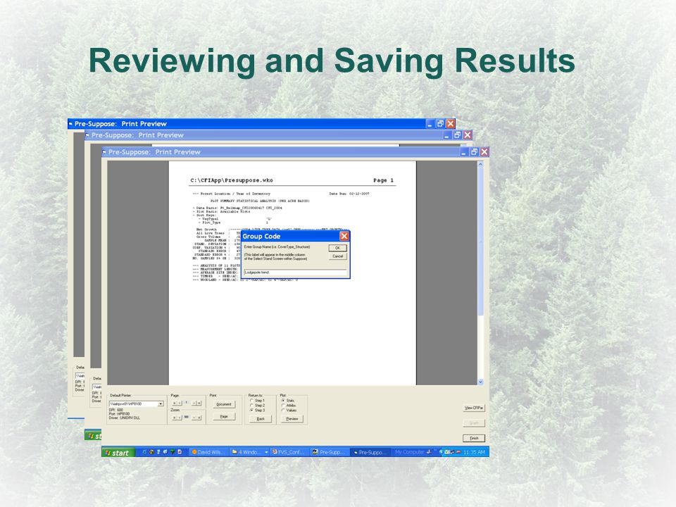 Reviewing and Saving Results