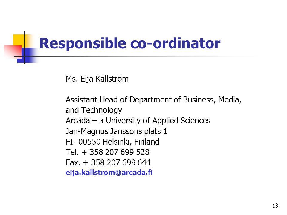 Responsible co-ordinator