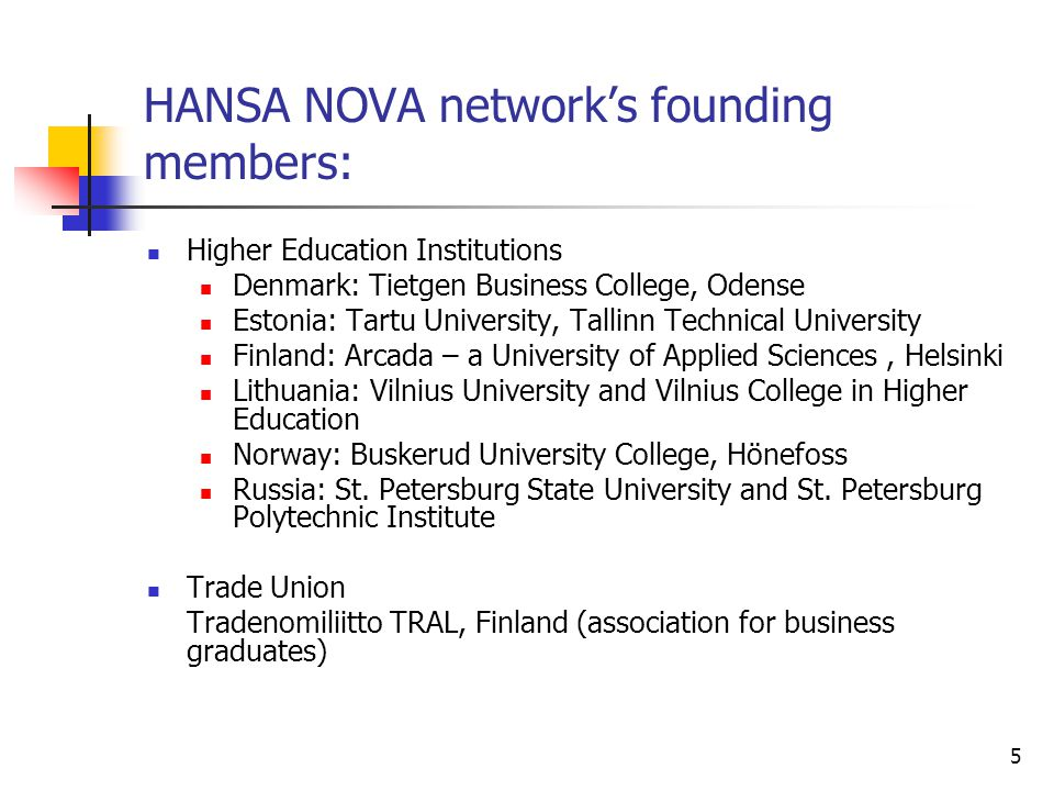 HANSA NOVA network's founding members: