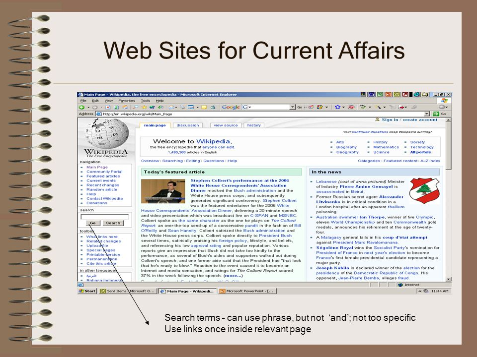 Web Sites for Current Affairs