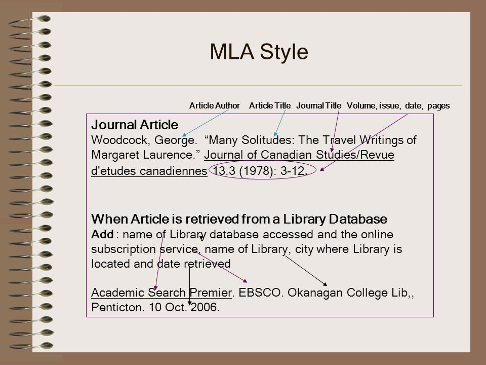 MLA Style Journal Article