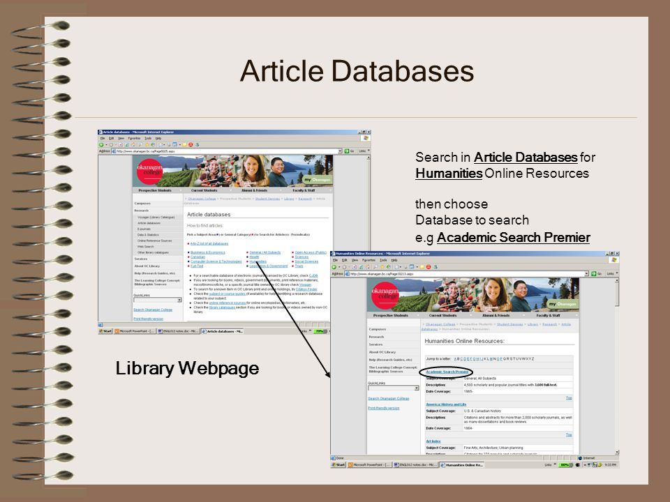 Article Databases Library Webpage Search in Article Databases for