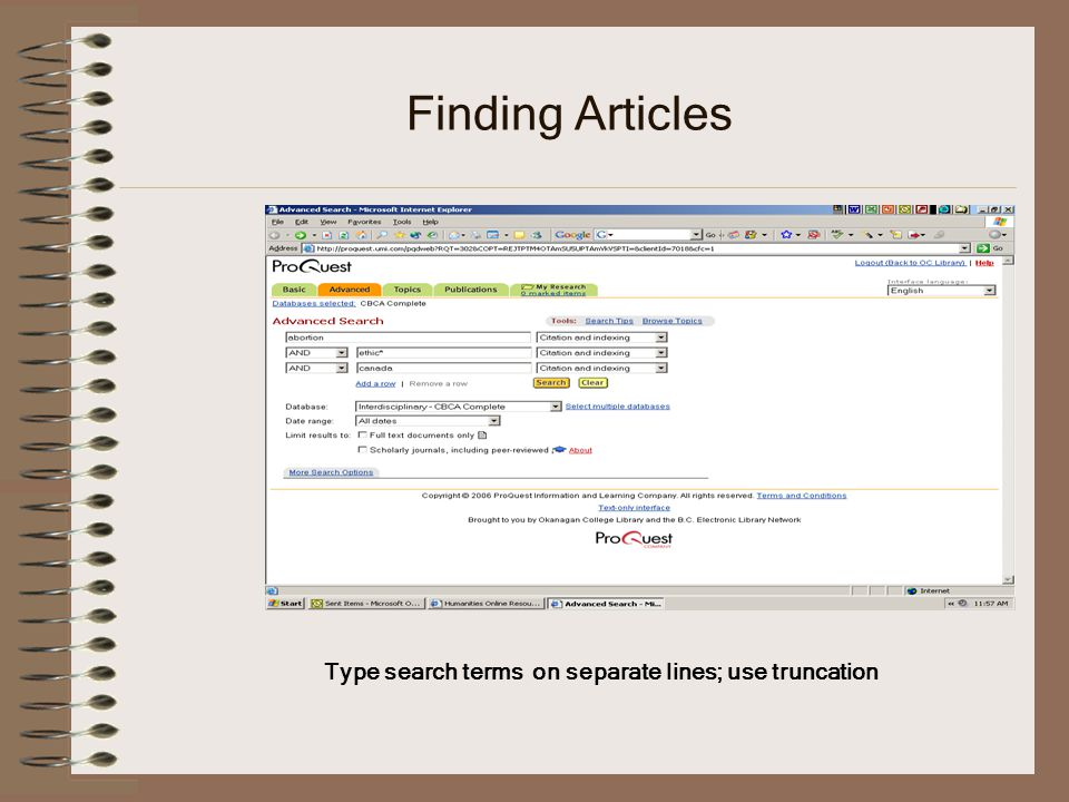 Finding Articles Type search terms on separate lines; use truncation