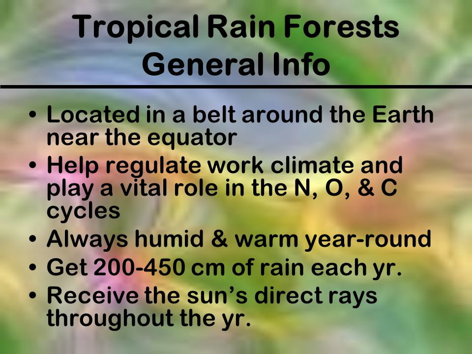 Tropical Rain Forests General Info