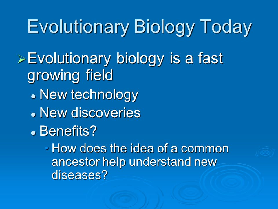 Evolutionary Biology Today