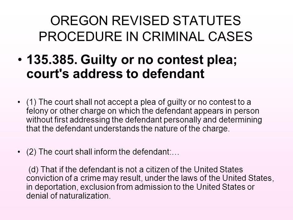 OREGON REVISED STATUTES PROCEDURE IN CRIMINAL CASES