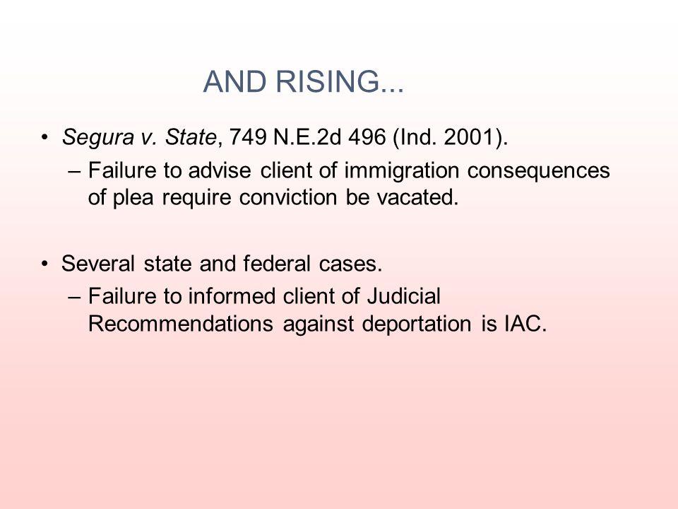 AND RISING... Segura v. State, 749 N.E.2d 496 (Ind. 2001).