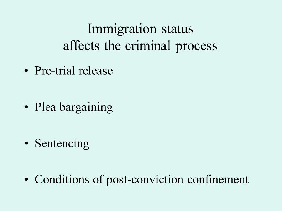 Immigration status affects the criminal process