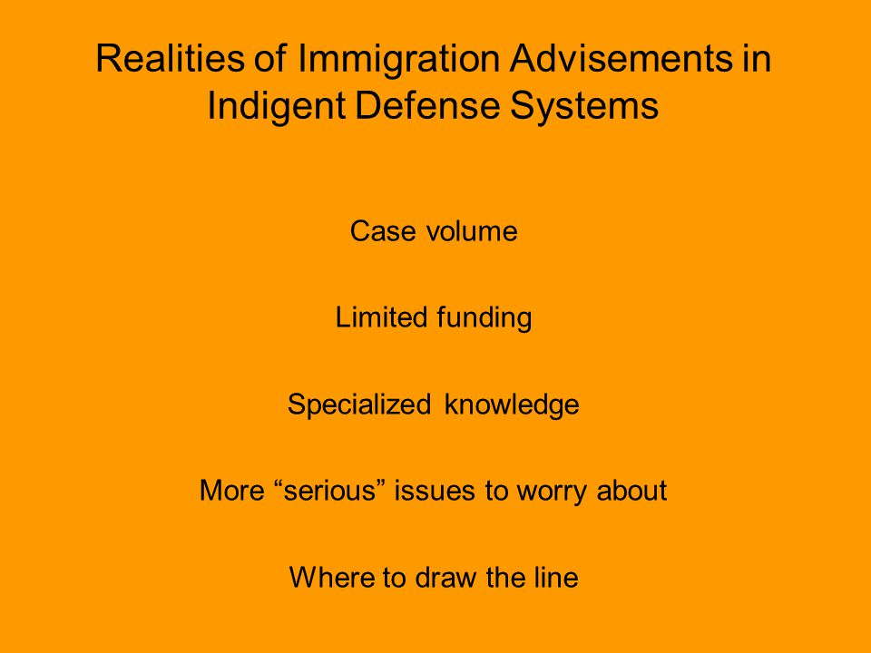 Realities of Immigration Advisements in Indigent Defense Systems