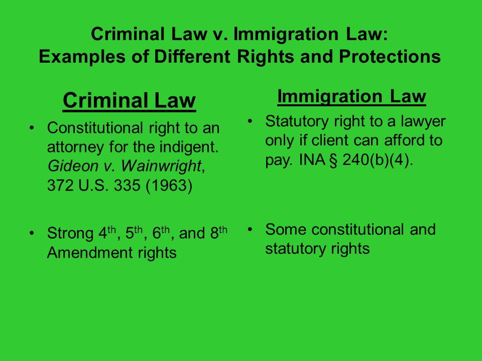 Criminal Law v. Immigration Law: Examples of Different Rights and Protections