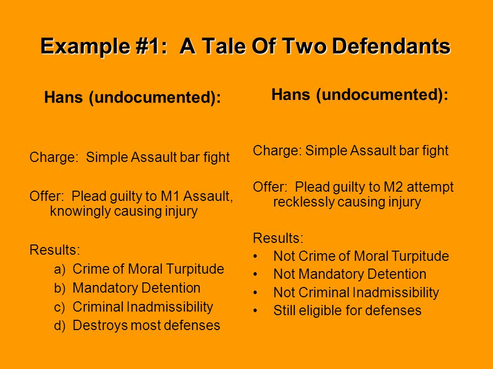 Example #1: A Tale Of Two Defendants