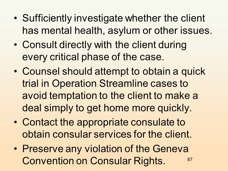 Preserve any violation of the Geneva Convention on Consular Rights.