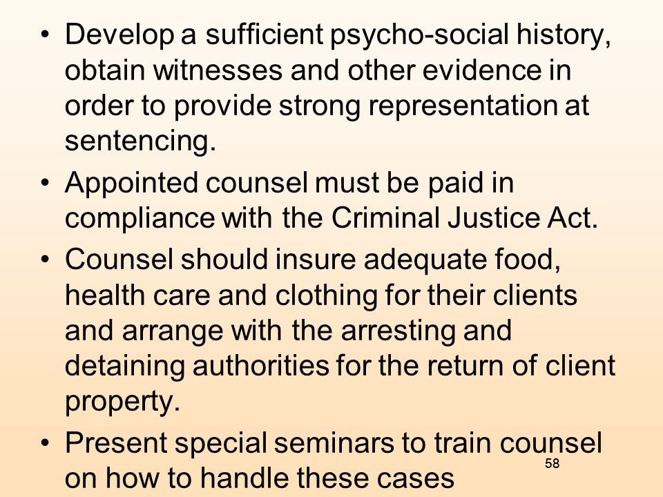 Present special seminars to train counsel on how to handle these cases