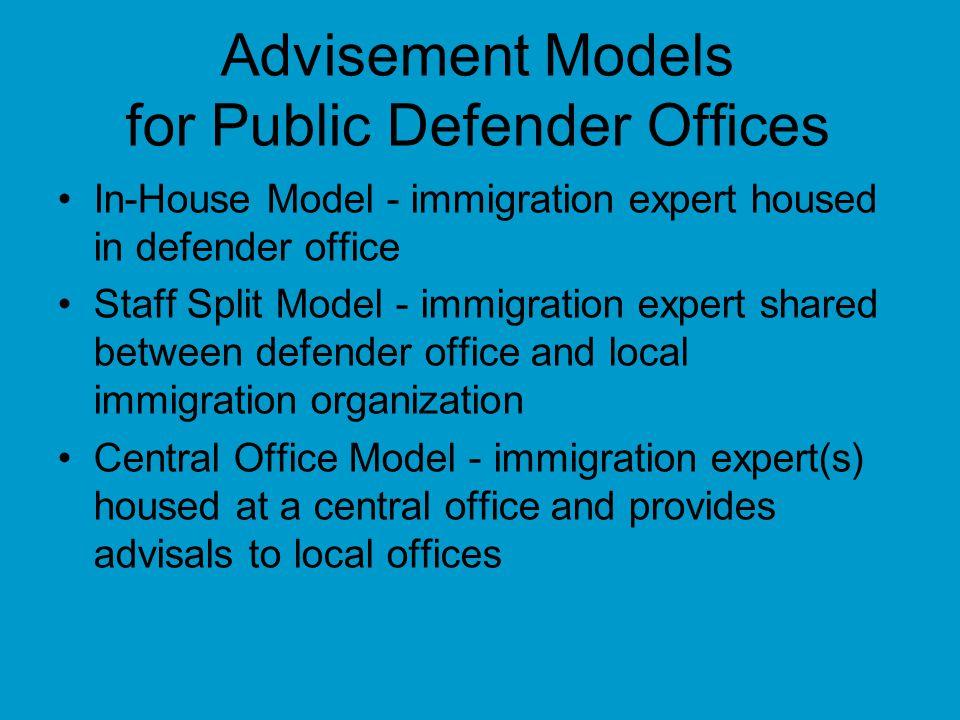 Advisement Models for Public Defender Offices