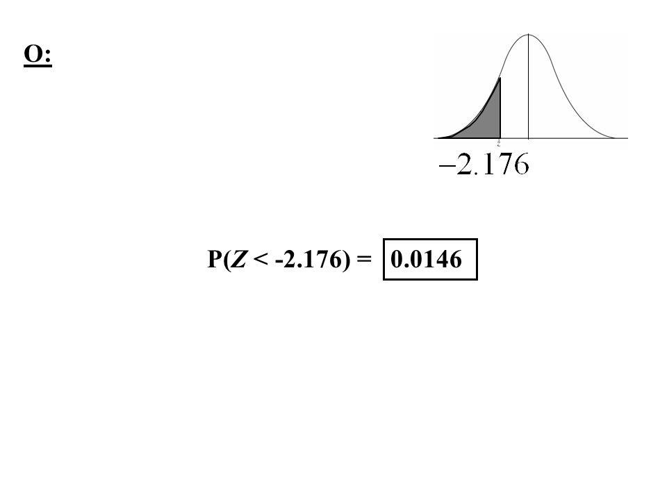 O: P(Z < -2.176) = 0.0146