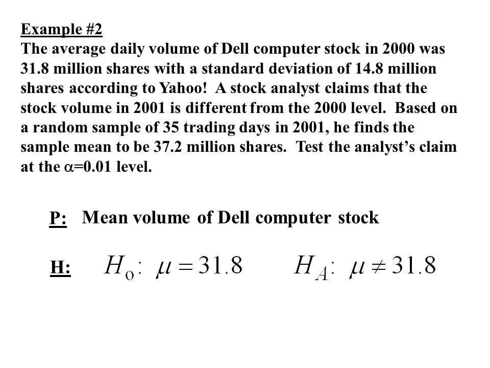 Mean volume of Dell computer stock