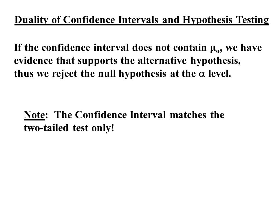 Duality of Confidence Intervals and Hypothesis Testing