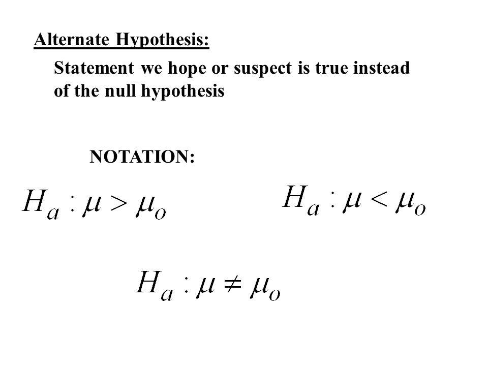 Alternate Hypothesis: