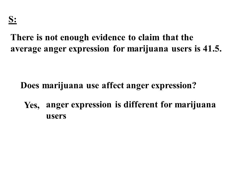 S: There is not enough evidence to claim that the average anger expression for marijuana users is 41.5.
