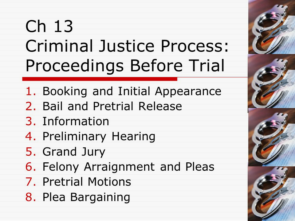 Ch 13 Criminal Justice Process: Proceedings Before Trial