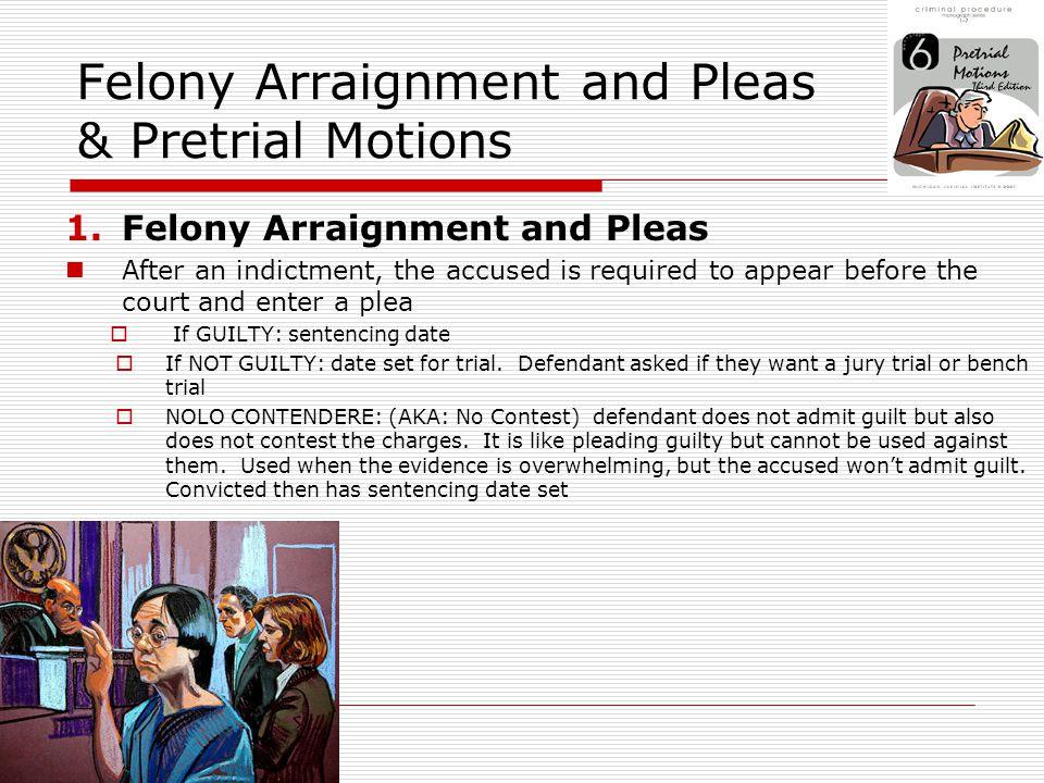 Felony Arraignment and Pleas & Pretrial Motions