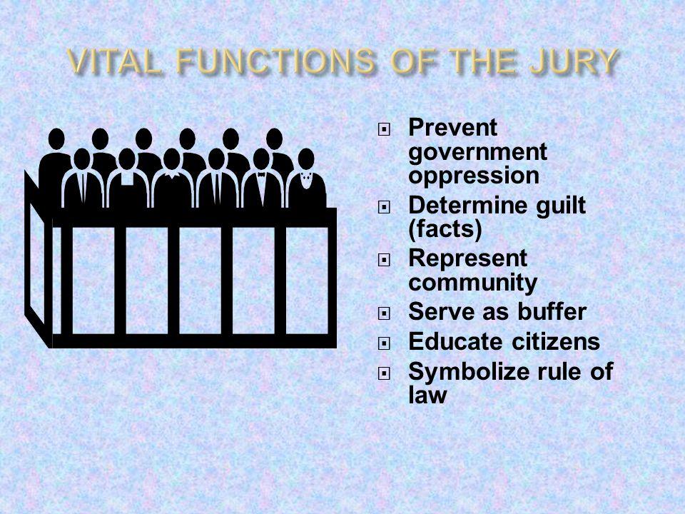 VITAL FUNCTIONS OF THE JURY