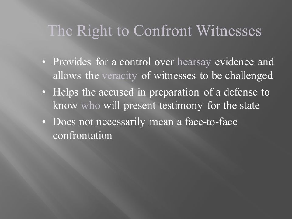 The Right to Confront Witnesses