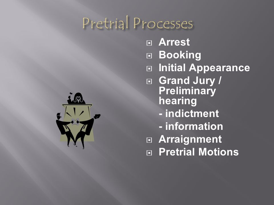 Pretrial Processes Arrest Booking Initial Appearance