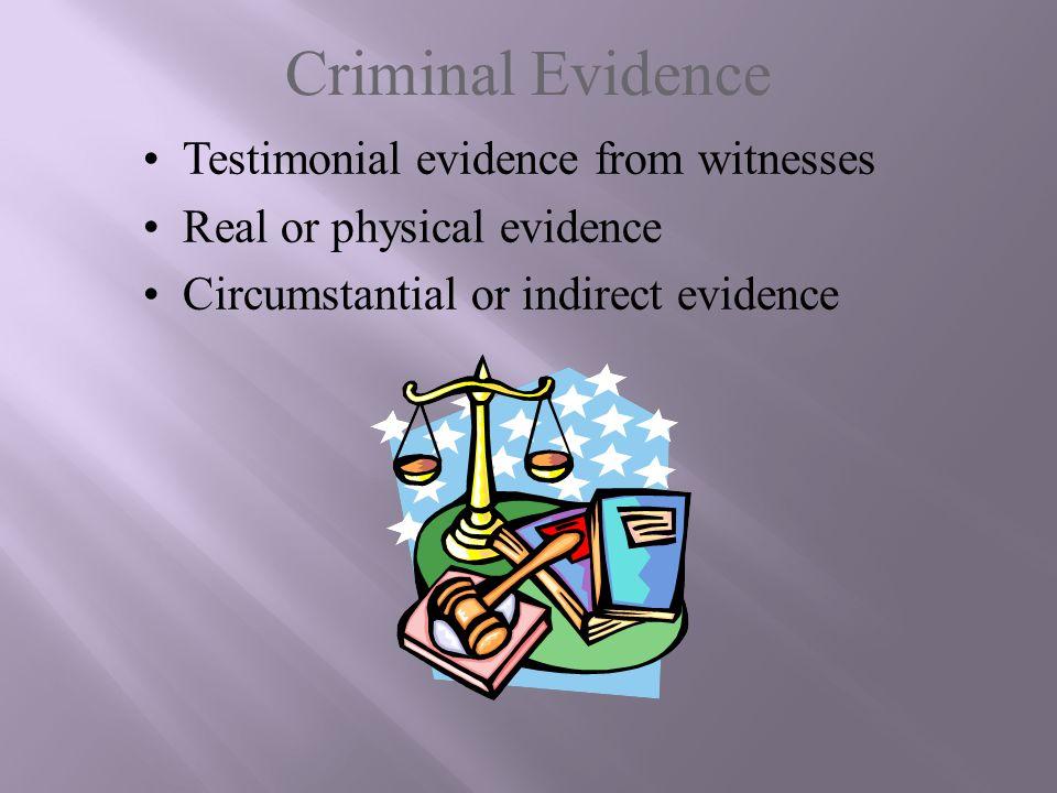 Criminal Evidence Testimonial evidence from witnesses