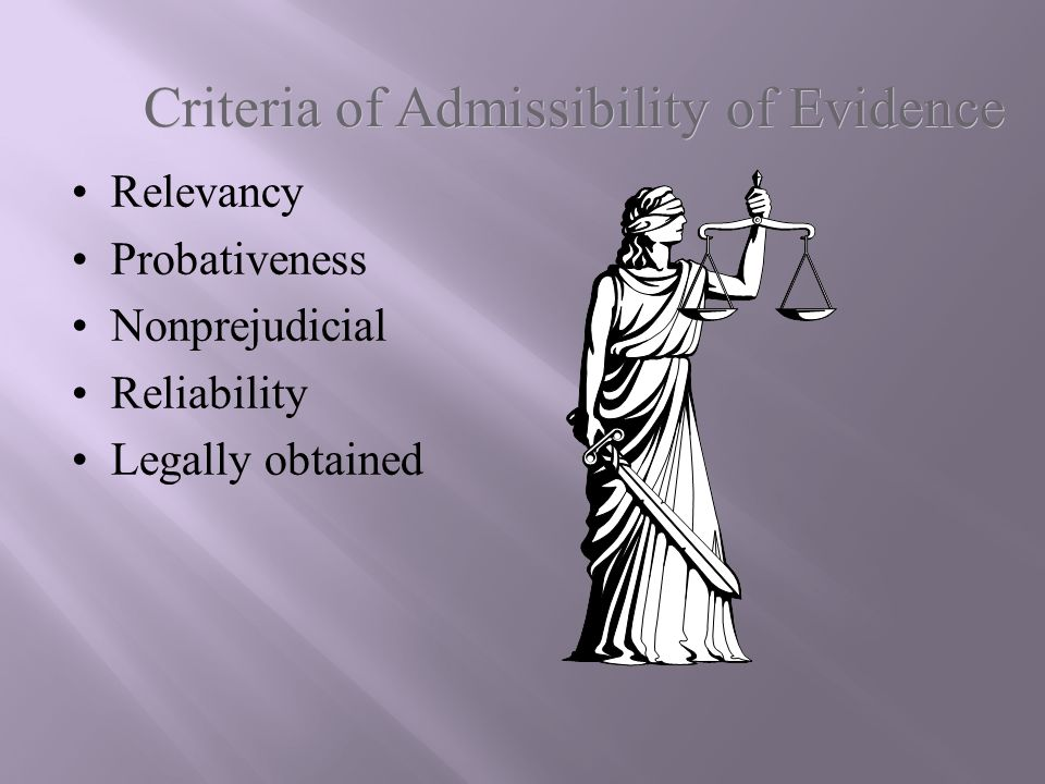 Criteria of Admissibility of Evidence