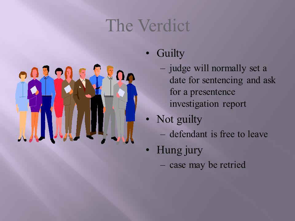 The Verdict Guilty Not guilty Hung jury