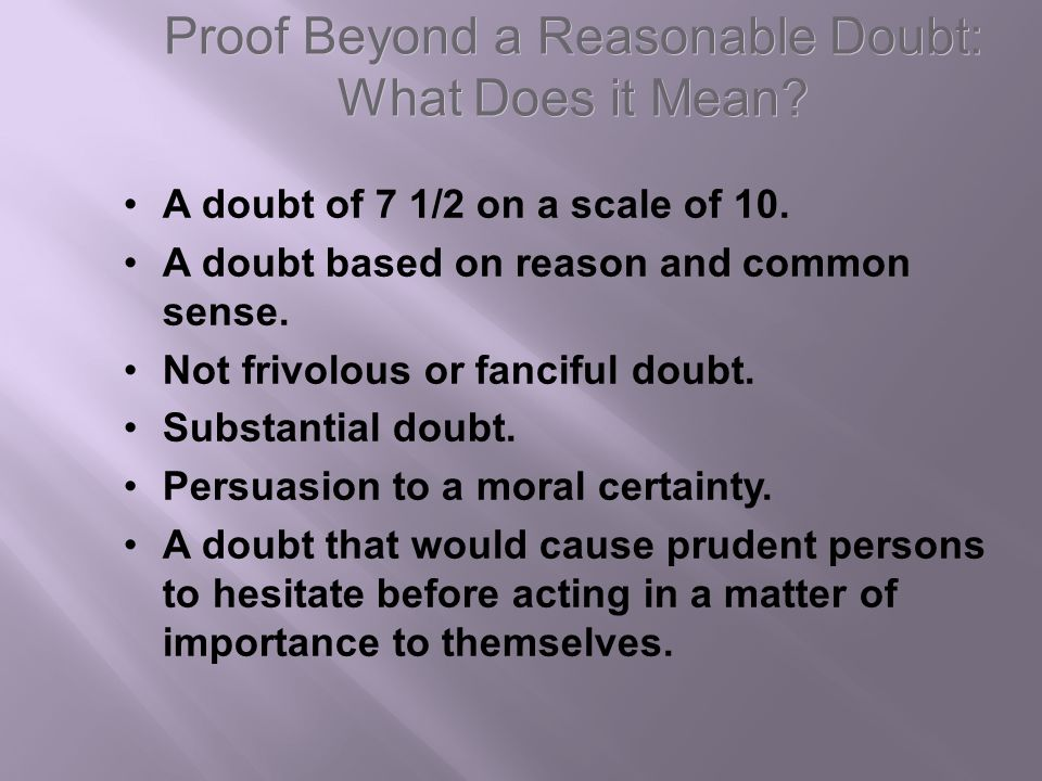 Proof Beyond a Reasonable Doubt: What Does it Mean