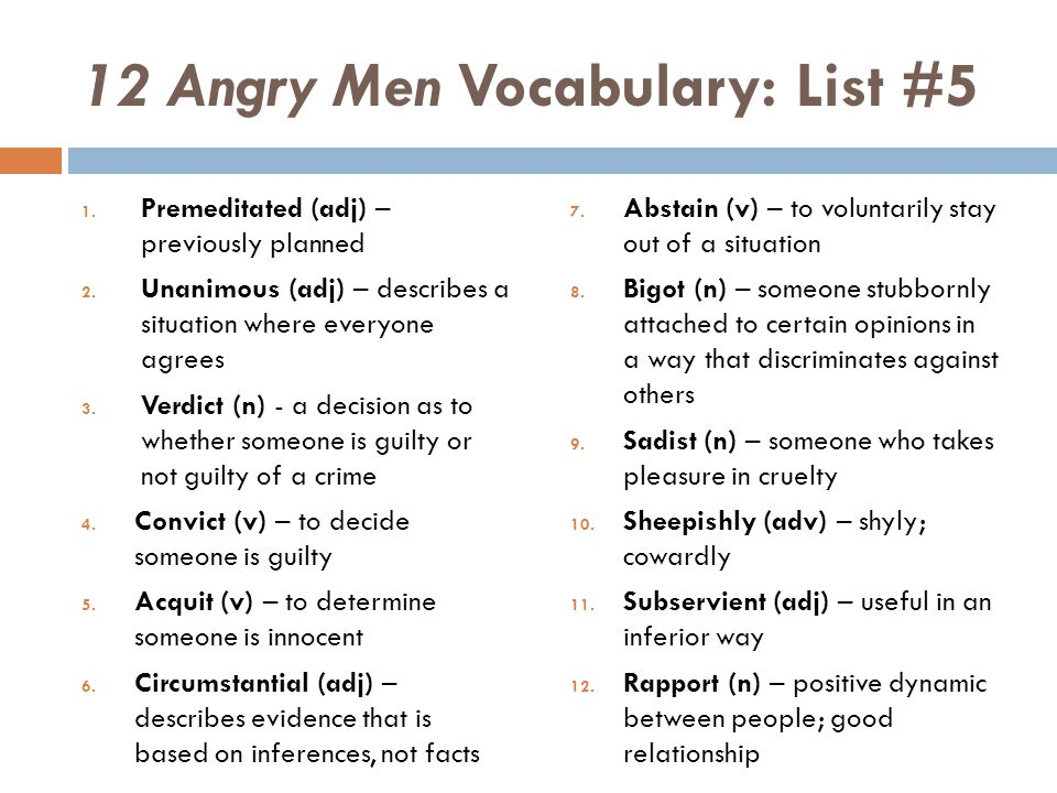 12 Angry Men Vocabulary: List #5