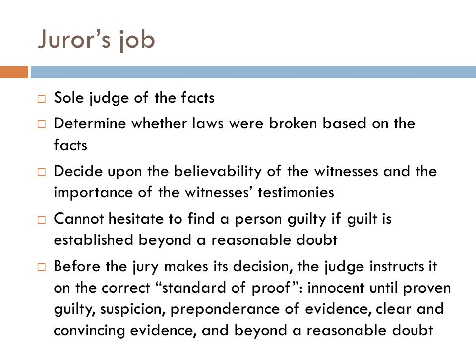 Juror's job Sole judge of the facts