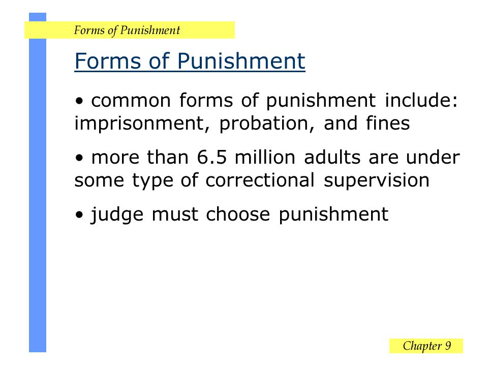 Forms of Punishment common forms of punishment include: imprisonment, probation, and fines.