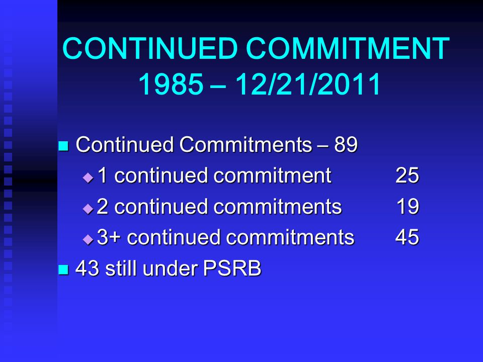 CONTINUED COMMITMENT 1985 – 12/21/2011