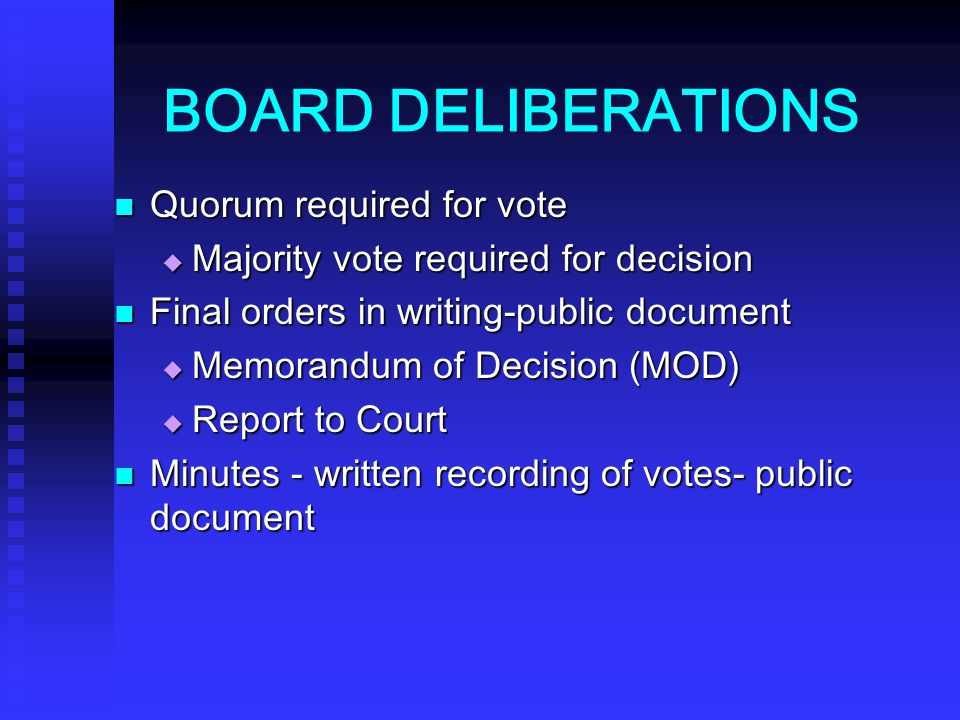 BOARD DELIBERATIONS Quorum required for vote