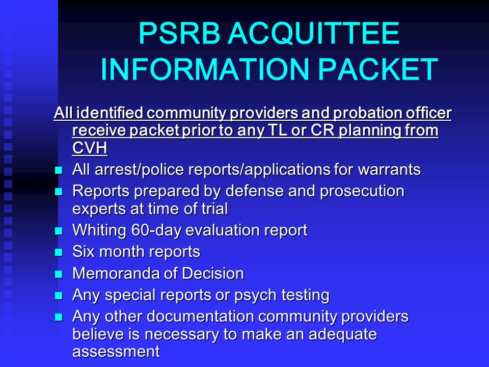 PSRB ACQUITTEE INFORMATION PACKET