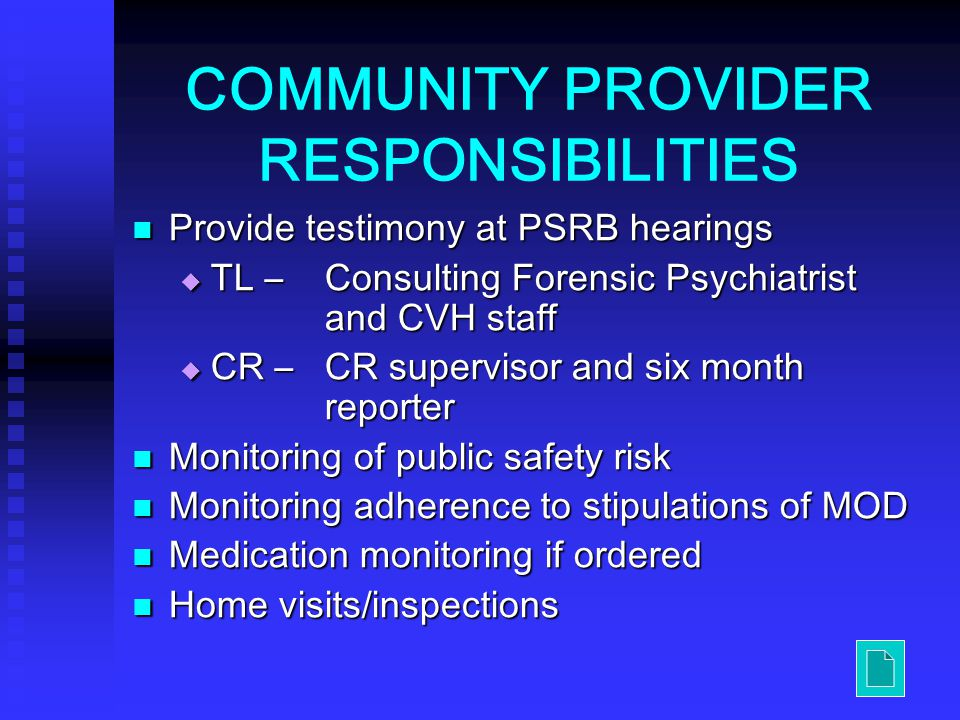 COMMUNITY PROVIDER RESPONSIBILITIES