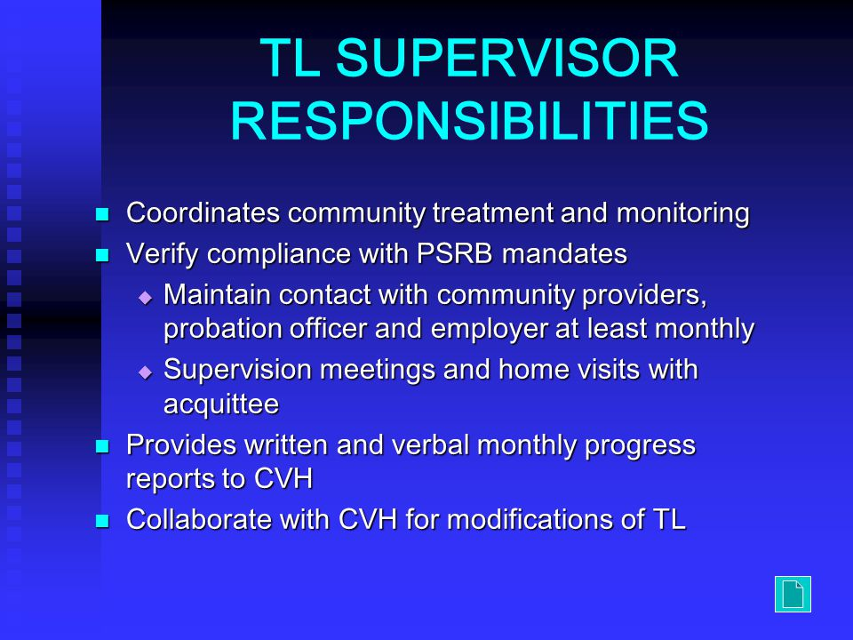 TL SUPERVISOR RESPONSIBILITIES