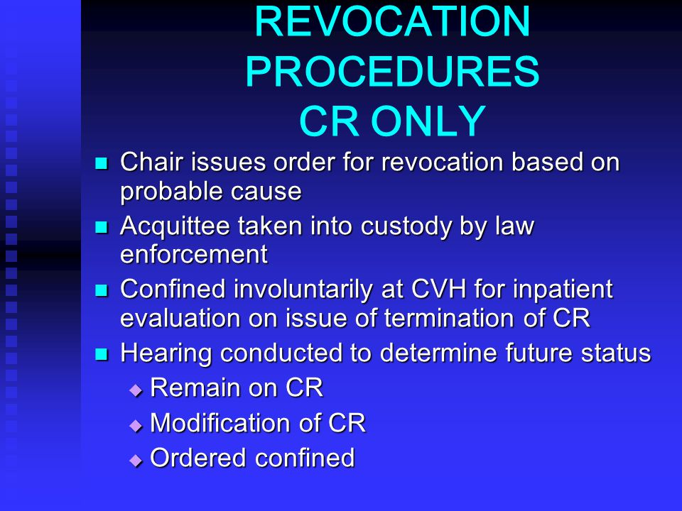 REVOCATION PROCEDURES CR ONLY